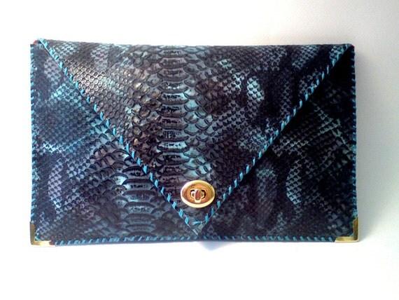 BLUE handmade leather clutch / snake imitation