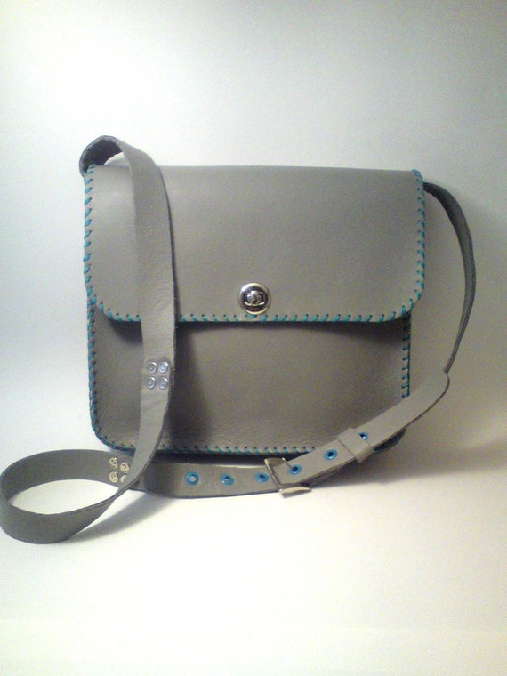 Leather grey bag / Handmade cross body - messenger bag