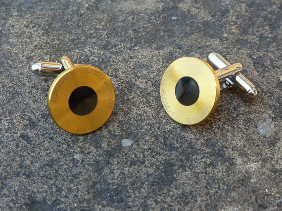 Gold & black titanium cufflinks made from BAR / Honda F1 racecar parts