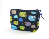 Mini coin purse / small zipper pouch / credit card holder - colorful sheeps on a navy blue background