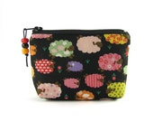 Mini coin purse / small zipper pouch / credit card holder - colorful sheeps on a black background