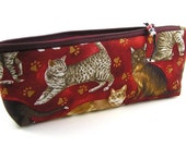 Realistic Cats and Paws on a Dark Red Background - Pencil Pouch/Pencil Case/ Zipper  Pouch