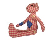 Buddy the Bear  - Pink Plaid on Beige - Handmade Bear for ... Everyone