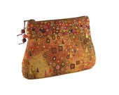 Inspiration of Gustav Klimt - Fabric with Metallic Gold Accents in Brown Hues - Cosmetics Case/Zipper Pouch/Gadget Case