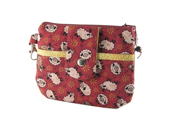 Little Sheeps on a Maroon Background  - Cosmetics Case/Zipper Pouch/Gadget Case with Front Pocket