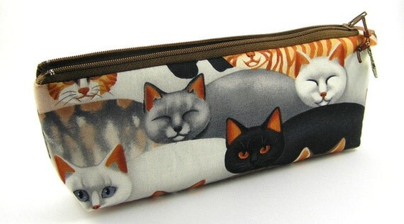 Serious Cats in the Brown Colorway - Pencil Pouch/Pencil Case/ Zipper  Pouch