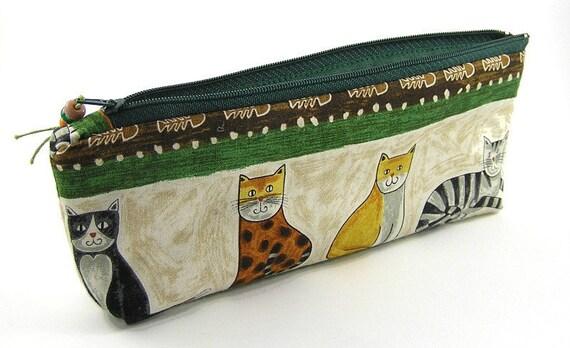 Sitting cats and fish bones - Pencil Pouch/Pencil Case/ Zipper  Pouch