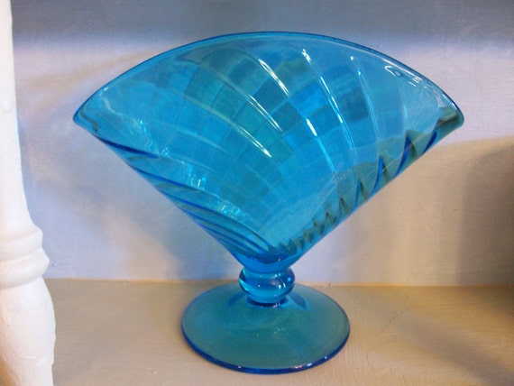 Sale Priced Turquoise Depression Glass Vase Unusual Shape