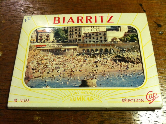 Vintage Biarritz, France miniature postcard set in an envelope