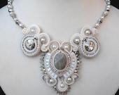 White, Cream and Silver Bridal Soutache necklace