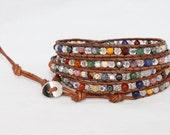 5 wrap mixed semi -precious stone  bracelet - Chan Luu inspired -