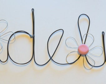 Personalized Custom Hand Made Decorative Wire Words Girls Name Stylish  Unique Gift Black Wire and Silver Wire Pink Daisies - Madeline