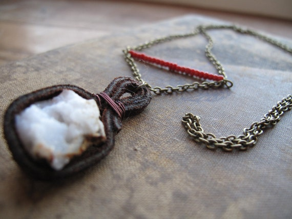 Geode Necklace White Quartz Necklace Red Bead Necklace Natural Stone Necklace