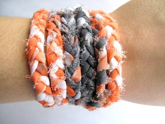 FREE SHIPPING Orange and Grey Wrap Bracelet or Braided Necklace Hand Dyed Wrap Bracelet Fabric Bracelet