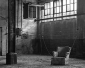Arm Chair in Abandoned Factory : Black & White Industrial Landscape Photograph by Peter Gravina