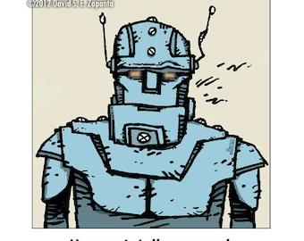 Melancholy Greetings - Robot funny greeting card (blank inside)