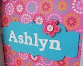 Pink and Teal Flowers - Personalized Children Art - Girl's Room Decor - Framed Art - Nursery Decor - Kid's Art - Shadow Box Art