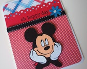 Disney Mickey Mouse Handmade Greeting Card - Red/Black/Blue - For Girl or Boy - Birthday or Best Wishes Occasion