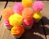 Pom Pom Cupcake Decorations (Set of 25), Perfect for birthdays, parties, baby showers, weddings, etc.