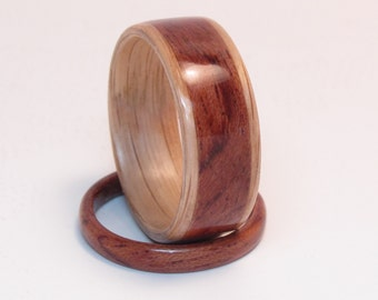 Handcrafted Oak and Bubinga Wood Rings Wedding Set  Anniversary Wood Rings