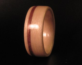 Maple Bentwood Band with Thin Walnut Inlay Wedding Ring, Anniversary Ring