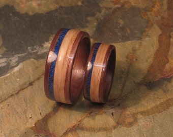 Walnut Wood Handcrafted Ring with Lapis Lazuli and Oak Inlay