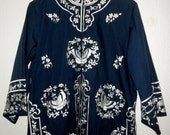 Beautiful Polynesian and Hawaiian Inspired Women's 1970s Button Down Tunic