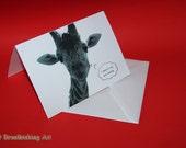Giraffe B&W birthday card Photography Greeting Card with Envelope