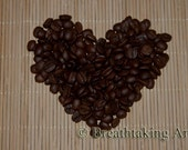 Coffee Beans shaped into a Heart  Fine Art Photography - 5x7
