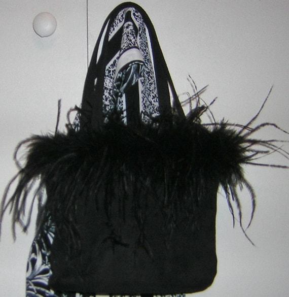 Vintage Black Ostrich Feather Purse by CJW