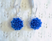 Dark Blue Chrysanthemum Filigree Earrings - Hypo Allergenic
