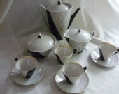 Art Deco Black White and Gold Tea or Expresso Set, Treasury Item