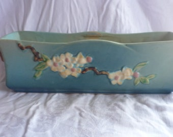 Breathtaking Roseville Apple Blossom Blue Window Box, 369-12, Treasury Item, FREE SHIPPING