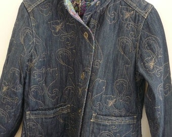 Handmade Woman's Quilted Denim and Paisley Jacket Reversible