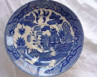 Two Blue Willw Transferware Asian Blue Saucer Plates