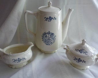 Homer Laughlin Dresden  Creamer and Sugar Bowl with Lid