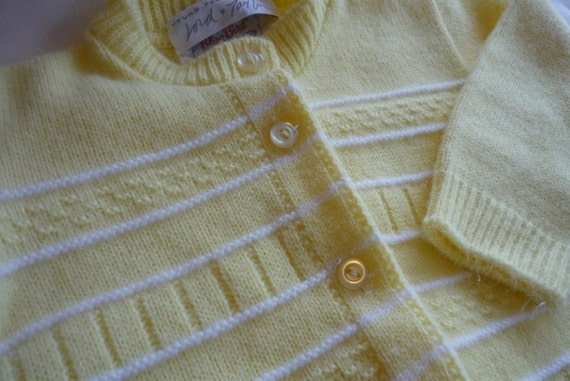 Vintage Lord and Taylor Yellow Baby Cardigan