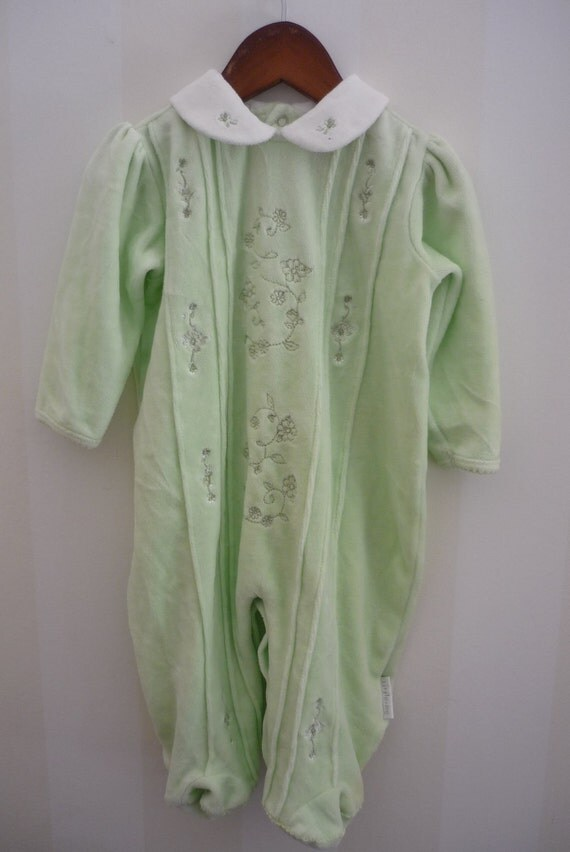 So Sweet in Green Velor Outfit with Embroidered Flowers
