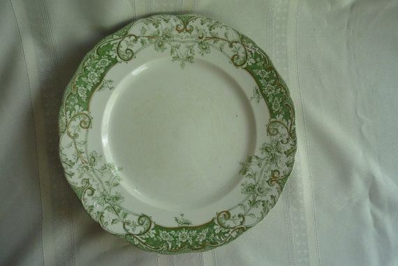 Rare Lovely Green Transferware Dinner Plate
