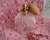Perfume Atomizer Shabby Cottage Garden Chic Clear Swirled Glass Pretty