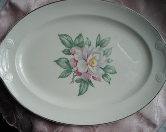 Vintage Shabby Platter Magnolia Taylor Smith Taylor TST Oval Cream Floral Pink White Green Old South