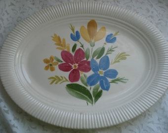 Vintage Platter Salem China Floral Print Retro Ivory Pink Blue Yellow Flowers Oval Serving Plate Shabby Cottage Chic