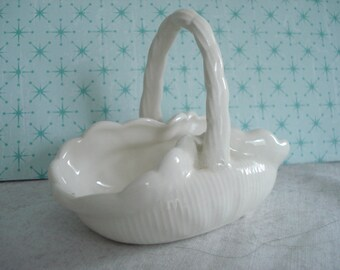 Vintage Porcelain Basket with Handle Shabby Cottage Chic