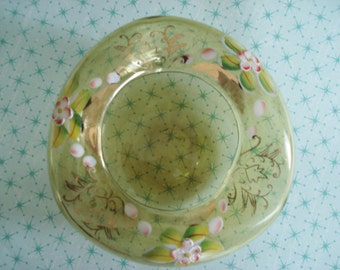 Vintage Ashtray Blown Glass Ash Tray Amber Handpainted Golden Yellow Shabby Cottage Vintage Floral