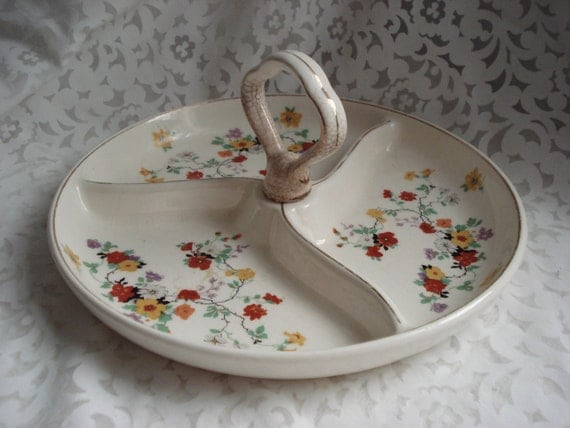 Vintage Candy Dish Floral Cream Handle Gold Trim Relish Tray Three Compartments