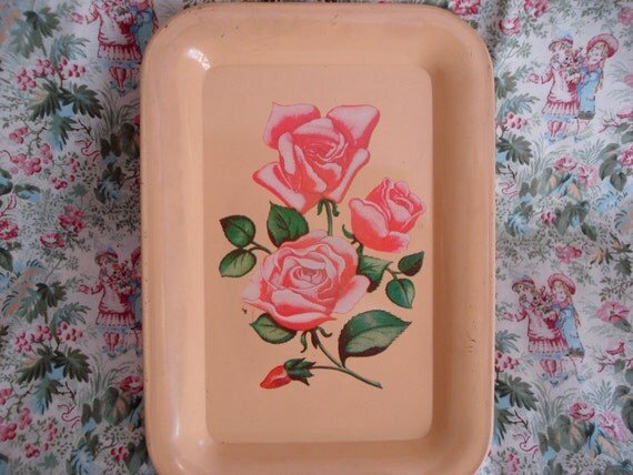 Vintage Pink Rose Print Metal Painted Tray Shabby Cottage Chic