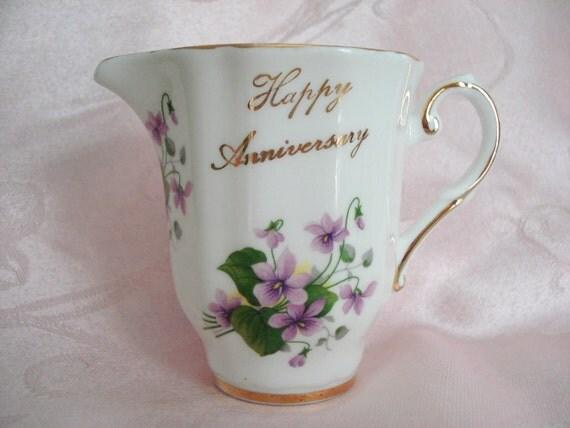 Vintage Royal Grafton Violet Creamer Happy Anniversary Bone China