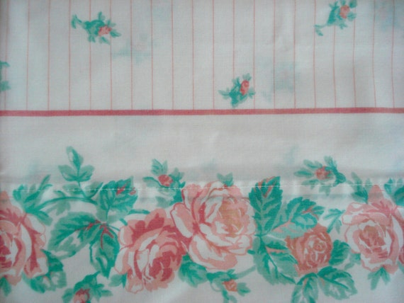 Vintage Pillowcase Pair Rose Shabby Chic