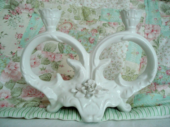 Vintage Shabby Candelabra Candle Holder White Sculpted Roses Portuguese Porcelain Double Cottage Chic Vintage Wedding