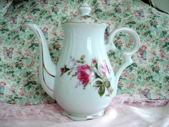 Vintage Rose Teapot Tea Pot Shabby Cottage Chic